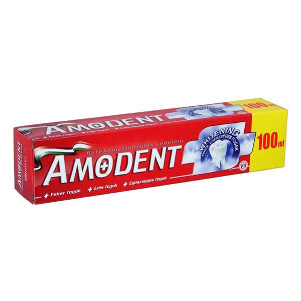 Nem csak hagyományos, már gyógynövényes és fehérítő hatású Amodent (a képen)  is létezik.