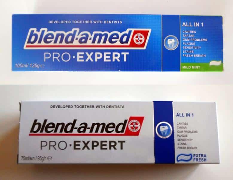 100 ml-es és 75 ml-es Blend-a-med Pro-Expert (Mild mint és Extra fresh)