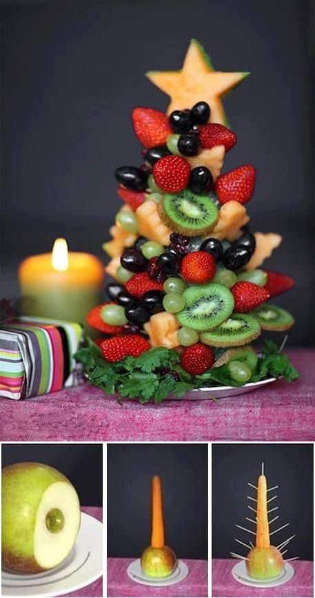 Melyik gyermek (felnőtt) tudna ellenállni ennek a gyümölcsből készült karácsonyfának? /Kép: Pinterest/