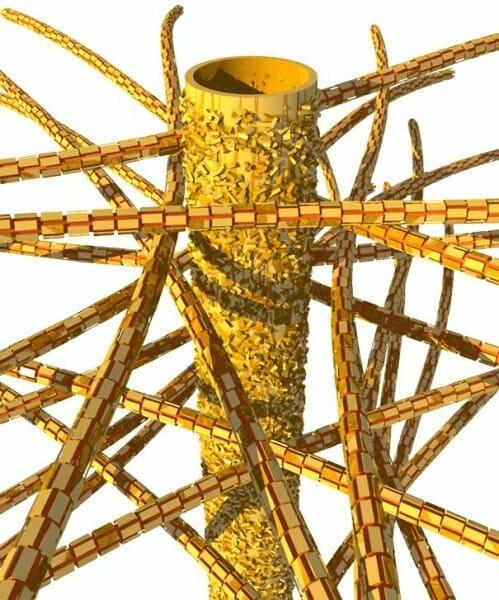 A dentin biológiai szerkezete: a dentincsatornák és ásványi nanorészecskék mellett kollagén rostok találhatók. /Kép: Berlini Orvostudományi Egyetem/