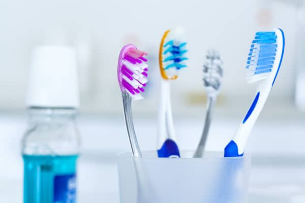 Tooth brushes in glass